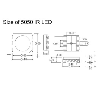 5050 940nm IR LED 0.9W Tyntek Chip