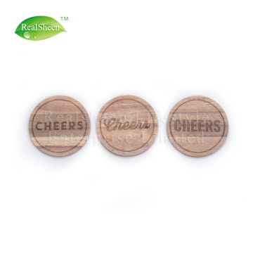 Round Laser Engraved Acacia Wooden Coaster For Drink