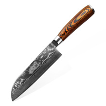 High Quality for Damascus Knife 7inch Color Wood Handle Damascus Santoku Knife export to Germany Factory