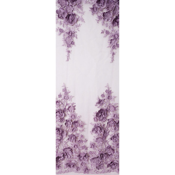 Best selling white polyester embroidery 3D flower floral beaded tulle lace fabric