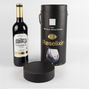 Europe Style Logo Customized Cylinder Wine Gift Box