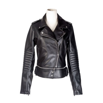 Female`s PU biker jacket