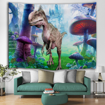 Dinosaur Tapestry Wild Anicient Animals Wall Hanging Tropical Jungle Natural Magic Castle 3D Wall Blanket for Children Bedroom L