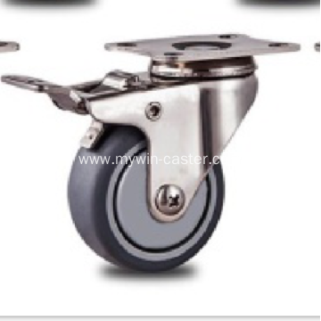 1.5 inch Stainless steel bracket  flat TPR casters with  brakes