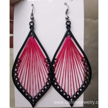 Alloy Frame Silk Thread Leaf Shape Handcraft Dangle Earrings