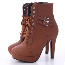 Women's Leather Lace Up Ankle Booties
