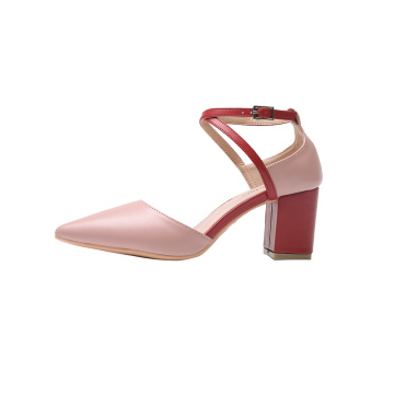 Ladies Spring Patent Leather Rubber Chunky Heels Shoes
