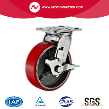 8'' Swivel Heavy Duty PU Industrial Caster with Iron Core With Size Brake