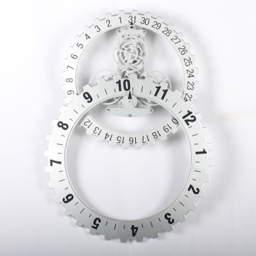 White Large Gear Wall Hanging Clock