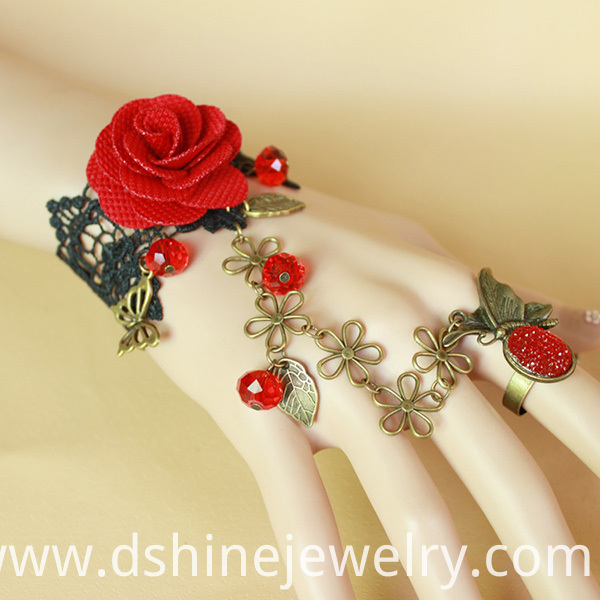 Retro Red Rose Lace Bracelet