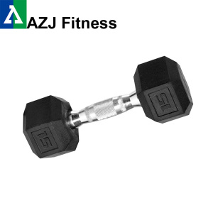 15LB Black Rubber Hex Dumbbell