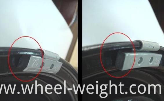 Fe clip-on weight on wheel