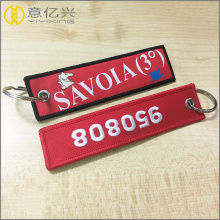 Customized Red Embroidery Tag Airport Flight Keychain