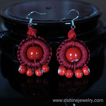 Retro Silver Hook Earring Ceramics Beads Thread Earrings