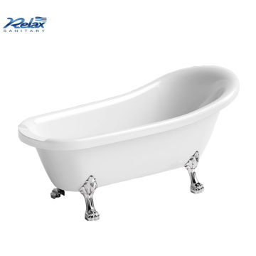 White acrylic indoor freestanding bathtub