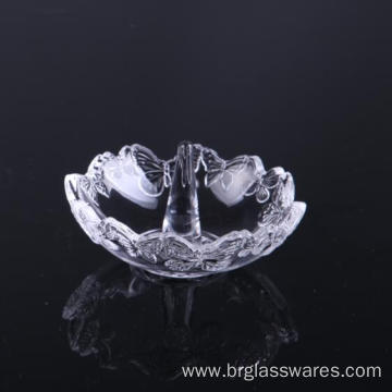 Hand Pressed Butterfly Pattern Crystal Glass Ring Holders