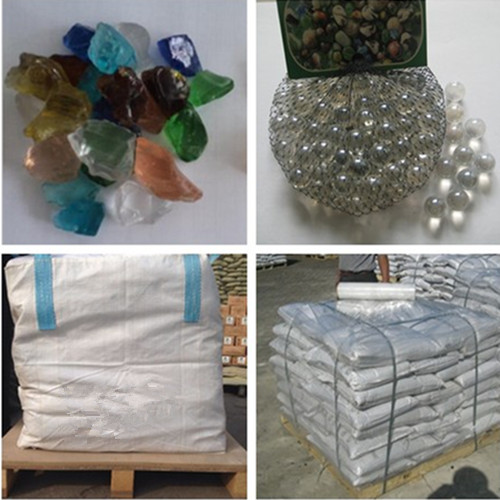 Natural crushed glass block for decoration