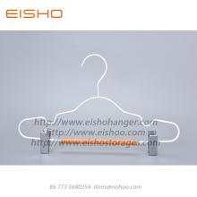 Special for Wooden Clothes Hanger EISHO White Children Wood Metal Hanger With Clips supply to Japan Exporter