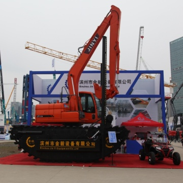Amphibious  excavator with side pontoon
