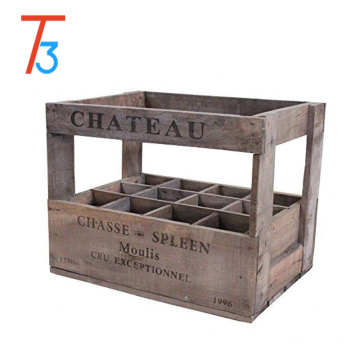 vintage style wooden wine crate box - 12 bottle holder