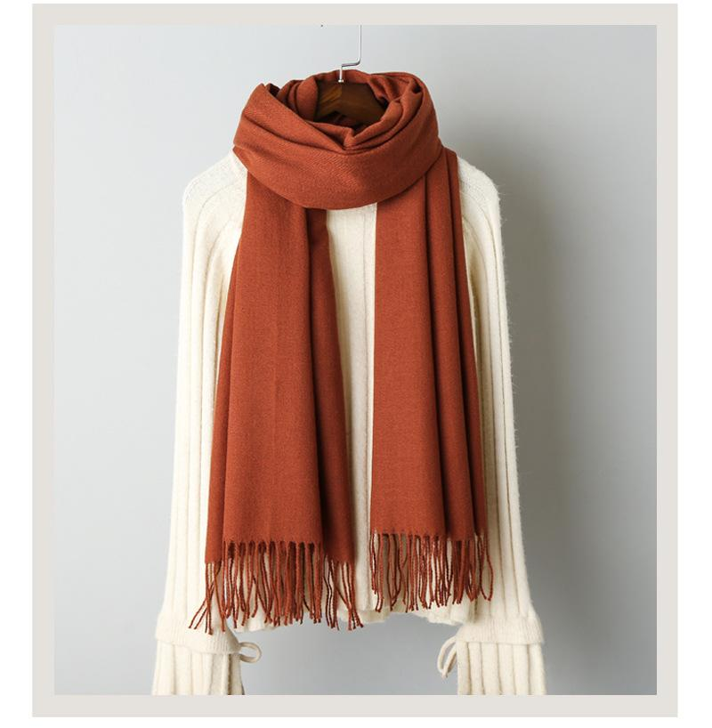 Cashmere solid color scarf knitted tassel shawl (3)