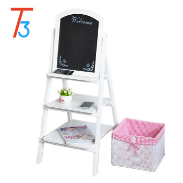 decoration wood flower stand easel with 3 display shelves