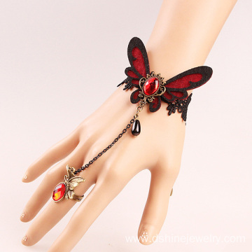 Butterfly Charm Lace Finger Chain Ring Crochet Bracelet