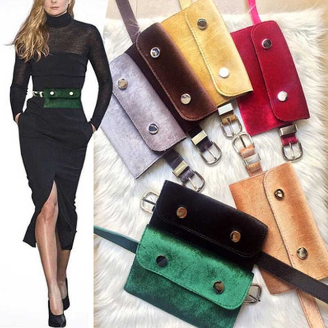Fashion Retro Velvet Hip Bum Belt Bag Ladies Fanny Pack Waist Bag 6