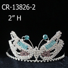 Custom Rhinestone Tiara Butterfly Mask Pageant Crowns