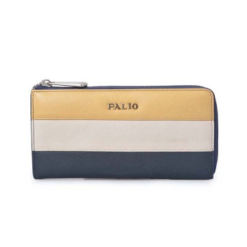 Color Contrast Leather Trifold Women Long Wallet Purse