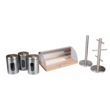 Bread Box with Transparent Cover Set