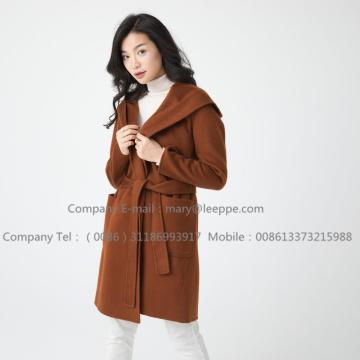 Women Medium Hooded Cashmere Coat