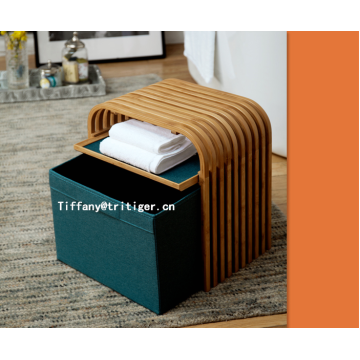brown bamboo storage shoes changing stool
