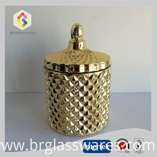 Gold glass candy jar
