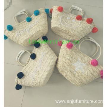 Eco-friendly Handmade Straw Weave Shoulder Handbag Tassel