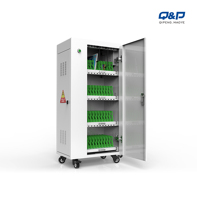 Storage device charging carts with cables