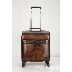 OEM China High quality for PU Business Travel Trolley Luggage Ultra-quiet grid pu suitcase. export to Zambia Exporter