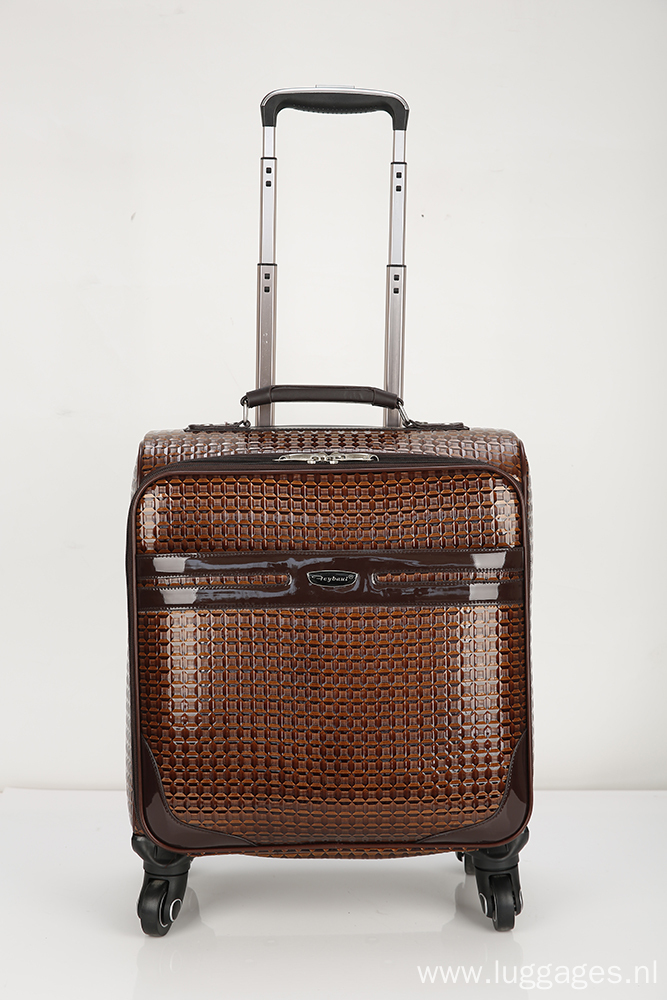 Ultra-quiet grid pu suitcase.