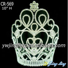 "10"" Tall Clear Rhinestone Flower Pageant Crowns"