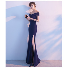 Banquet evening dress 2017 new elegant long section of the word shoulder fish tail host dress dress