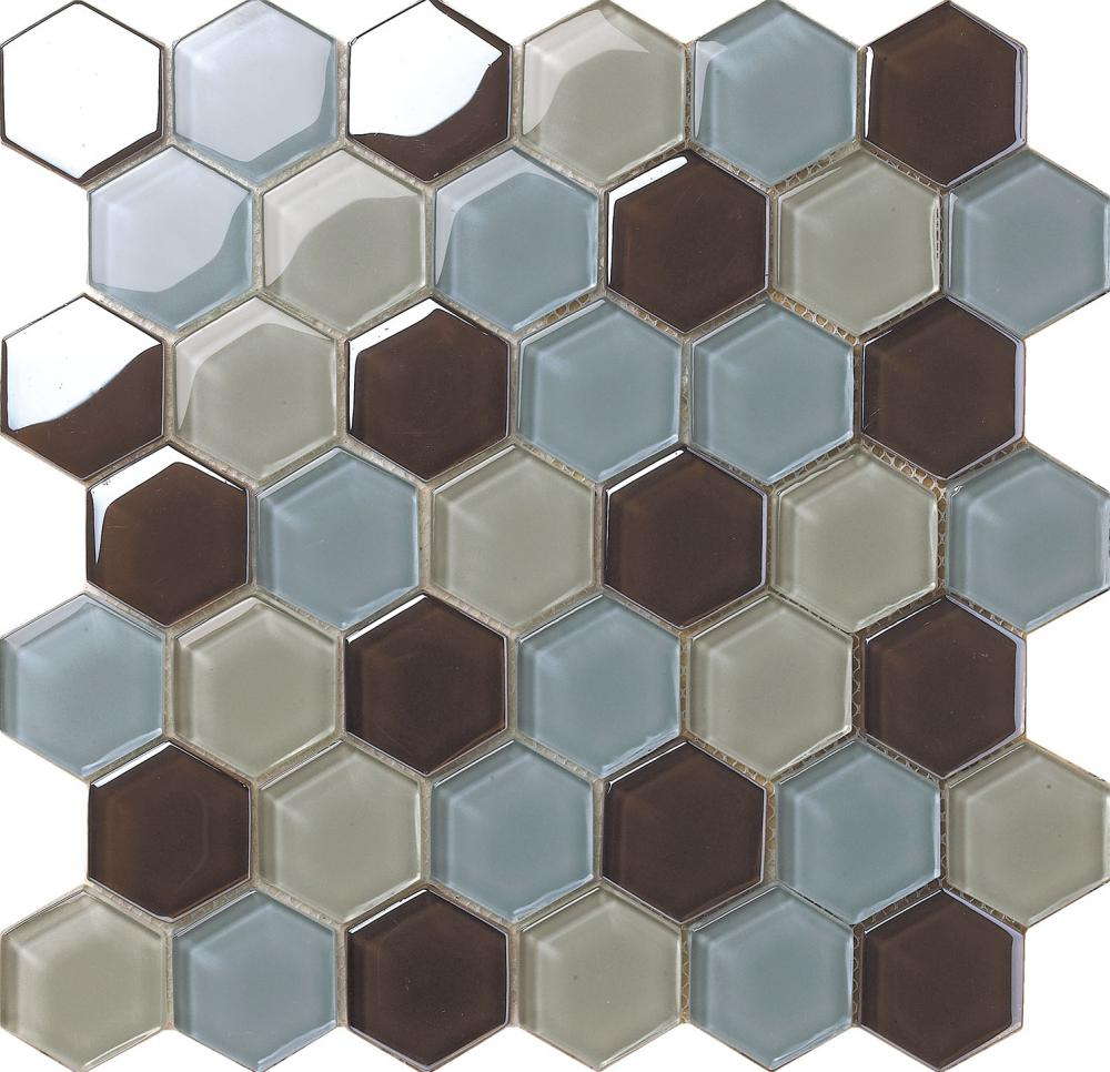 Crystal Glass Original Color Hexagon Mosaic