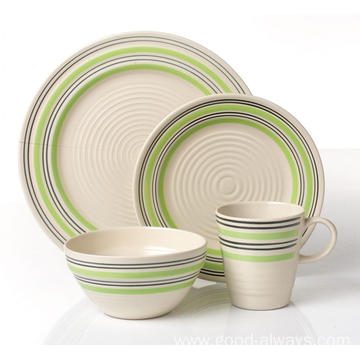 Ceramic embossed handpainted 16pcs 18pcs dinnerware