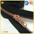 Fashion Rose Gold Teeth Metal Zipper