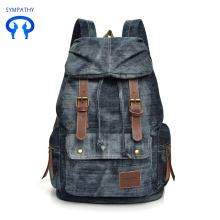 Vintage denim women pack casual backpacks
