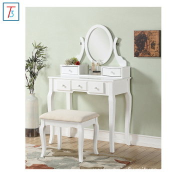 Wooden Furniture Wood Make-Up Vanity Table and Stool Set
