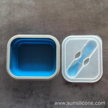 Portable silicone  collapsible bento box food container