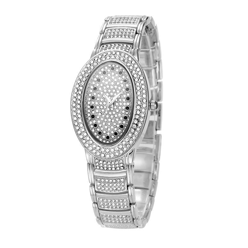 Diamond Stainless Steel Waterproof Battery Watch