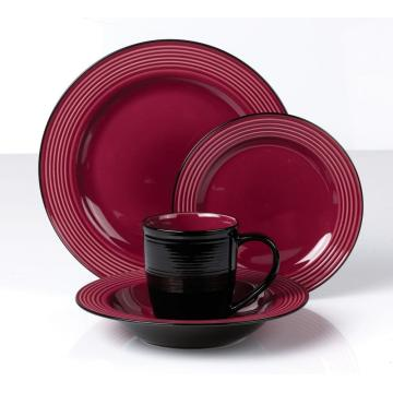 Color glazed 16pcs ceramic stoneware embossed dinner set