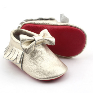 Hot Red Sole Cow Leather Baby Moccasins