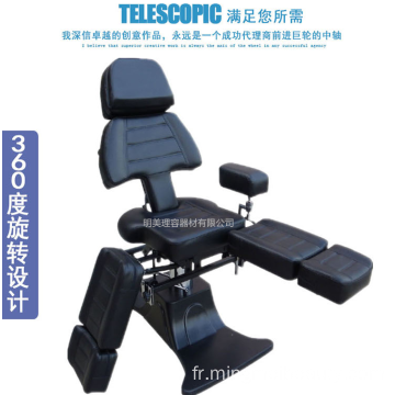 Chaise de tatouage pliable multifonctionnelle hydraulique confortable